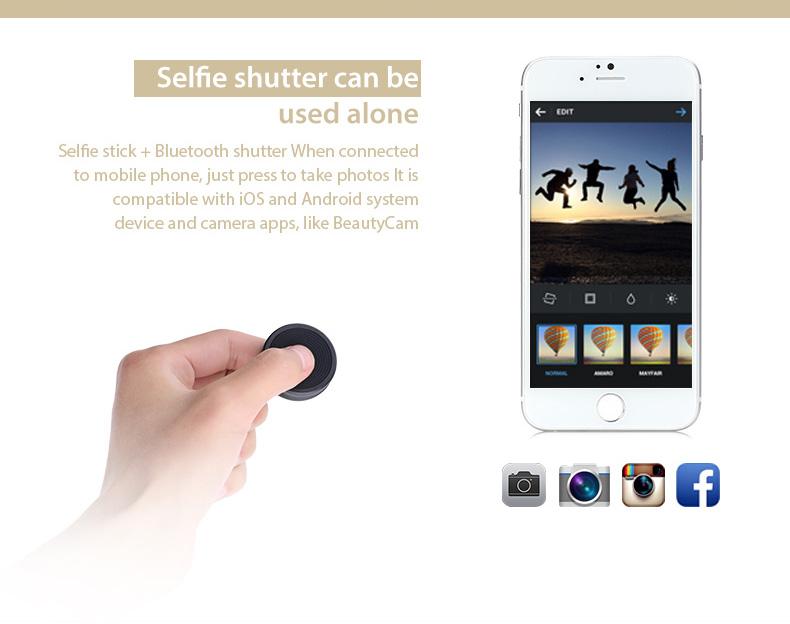 bluetooth remote shutter extendable selfie handheld stick monopod for iphone ebay. Black Bedroom Furniture Sets. Home Design Ideas