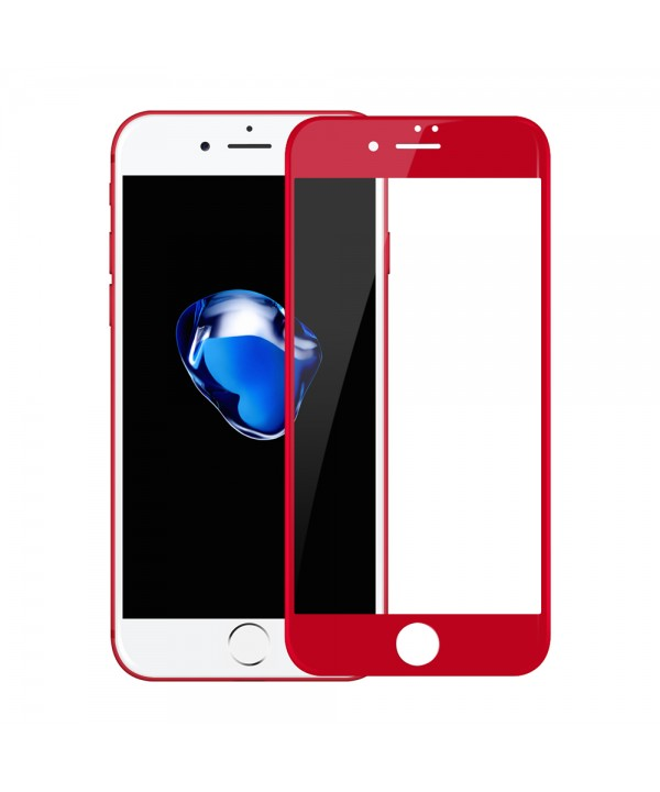 iPhone 7 Plus 3D Full Coverage Tempered Glass, [PET Frame] [Edge to Edge Crash Protection] Curved [Scratch Proof] [Bubble Free] Tempered Glass Screen Protector Film for iPhone 7 Plus - Red