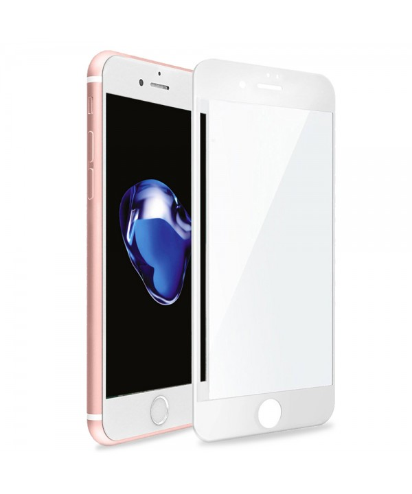 iPhone 7 3D Full Coverage Tempered Glass, [PET Frame] [Edge to Edge Crash Protection] Curved [Scratch Proof] [Bubble Free] Tempered Glass Screen Protector Film for iPhone 7 - White