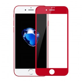 iPhone 7 3D Full Coverage Tempered Glass, [PET Frame] [Edge to Edge Crash Protection] Curved [Scratch Proof] [Bubble Free] Tempered Glass Screen Protector Film for iPhone 7 - Red