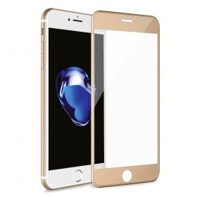 iPhone 8 Plus/iPhone 7 Plus 3D Full Coverage Tempered Glass, [PET Frame][Edge to Edge Crash Protection] Curved [Scratch Proof][Bubble Free] Screen Protector Film for Apple iPhone 8 Plus/7 Plus - Gold