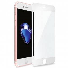 iPhone 8 3D Full Coverage Tempered Glass, [PET Frame] [Edge to Edge Crash Protection] Curved [Scratch Proof] [Bubble Free] Tempered Glass Screen Protector Film for Apple iPhone 8 - White