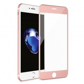 iPhone 8 Plus/iPhone 7 Plus 3D Full Coverage Tempered Glass, [PET Frame][Edge to Edge Crash Protection] Curved [Scratch Proof][Bubble Free] Screen Protector for Apple iPhone 8 Plus/7 Plus - Rose Gold